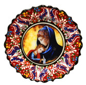 Turkish Ceramics-Ikona Series-Virgin Mary & Baby Jesus-red plate-diameter: 7inch (18cm)