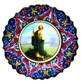 Turkish Ceramics-Ikona Series-Saint Jude-navy plate-diameter: 7inch (18cm)