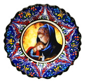 Turkish Ceramics-Ikona Series-Virgin Mary & Baby Jesus-navy plate-diameter: 7inch (18cm)