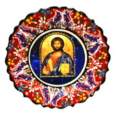 Turkish Ceramics-Ikona Series-Jesus-red plate-diameter: 7inch (18cm)