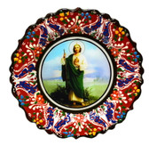 Turkish Ceramics-Ikona Series-Saint Jude-red plate-diameter: 7inch (18cm)