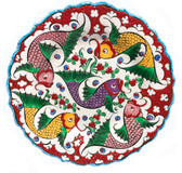 Multi Fish Design Hand Painted Ceramic Plate-10 inch/25cm-red