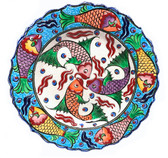 Multi Fish-Hand Painted Ceramic Plate-10 inch/25cm-blue