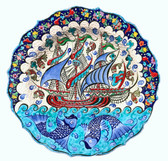 Ottoman Ship 1~Hand Painted Ceramic Plate~12inch (30cm)