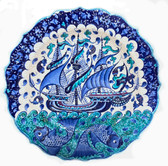 Ottoman Ship 2~Hand Painted Ceramic Plate~12inch (30cm)