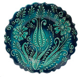 Hand Painted Ceramic Plate-D:7 inch-Single Tulip Design-green