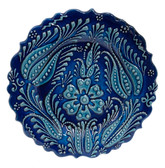 Hand Painted Ceramic Plate-D:7 inch-Double Tulip Design-navy