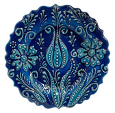 Hand Painted Ceramic Plate-D:7 inch-Single Tulip Design-navy