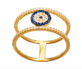 925 Sterling Silver Evil Eye Ring-gold plated