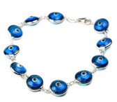 Sterling Silver Evil Eye Bracelet-light blue