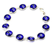 Sterling Silver Evil Eye Bracelet-navy