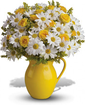 Sunny Day Pitcher of Daisies - with Roses