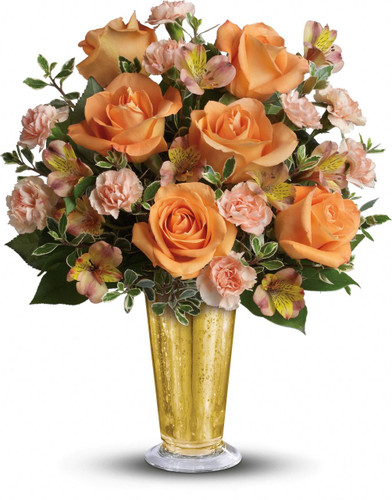 This gorgeous bouquet includes orange roses and orange alstroemeria arranged to perfection in our gold mercury glass julep or similar vase.