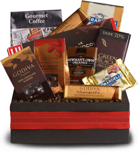 If we had to sum up this luxurious basket in one word, there's no question the word is WOW! Every kind of luxurious chocolate. Of course no adult indulgence would be complete without some gourmet coffee to go along with it, so we've included that too, just for good measure!