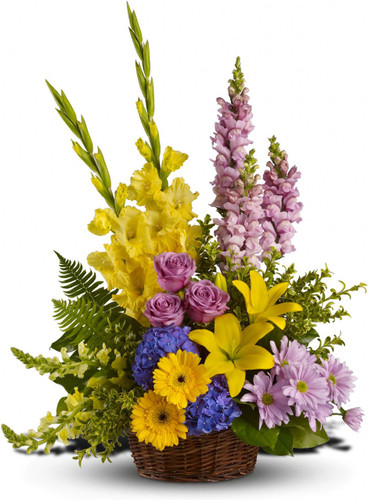 This generous basket filled with a variety of blooms is a gorgeous way to send caring thoughts. And hopes for brighter days ahead.