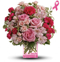 Celebrate a fabulous woman in your life with a beautiful mixed bouquet featuring pink roses and arranged in a perky pink cube. She'll be thrilled with this charmingly feminine gift - and touched by your thoughtfulness because it is also a gift for others!