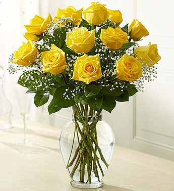 Brighten any celebration with a beautiful and brilliant bouquet of premium long-stem yellow roses, the Rose of Friendship. Hand-designed by our talented designers, it's a stylish and vibrant gift that's sure to bring sunny smiles to their day.