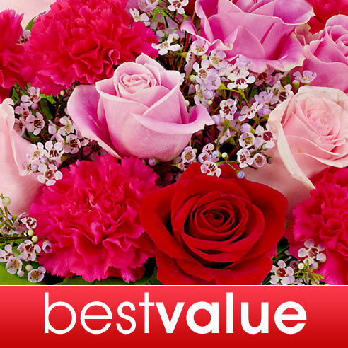 If you can't decide what flower delivery to send to best express your love, then why not leave it to an Inbloom expert florist to design the perfect designer flower bouquet? This hand-arranged bouquet of flowers from our best value flowers delivery will be hand delivered in a clear glass vase with a free personalized message of your choice so you can tell your sweetie how much he or she means to you. Send flowers that say I love you at a good price, but with the best quality flowers available at our local florists shop. By ordering flowers online through our best value flowers option you get the freshest and best choice of blooms that have just arrived! Send someone flowers today or for Valentines day, Christmas, Birthdays, Anniversaries, or Just Because - the best occasion of all!