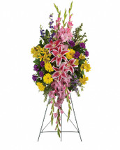 Your sincere wishes for peace and harmony resonate beautifully in this perfectly balanced arrangement of pink lilies, yellow gerberas and purple larkspur.   This inspiring spray includes pink stargazer lilies, yellow gerberas, yellow alstroemeria, pink gladioli, purple carnations and purple larkspur accented with oregonia and lemon leaf.