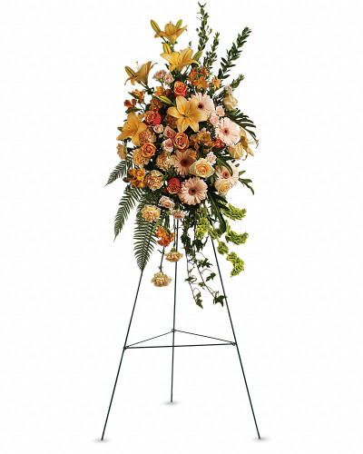 A fountain of subtle color is provided by this gracefully elegant array of peach roses and lilies and other favorites - a symbol of life and hope during a difficult time.      The striking bouquet includes peach roses, orange bi-color roses, peach spray roses, peach asiatic lilies, orange alstroemeria, peach carnations and bells of Ireland, accented with assorted greenery.