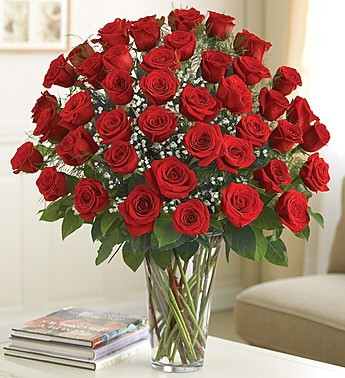 "Because your sweetheart deserves to be romanced with all the love in your heart, send a luxurious bouquet of the freshest premium long-stem red roses to her because it's Valentine's Day or because it's a Wednesday. Regardless of whether there is an occasion or not or whether you choose two, three or four dozen, each truly original arrangement is hand-gathered by our select florists in a classic glass vase to help you express yourself perfectly. •Premium long-stem red roses, artistically arranged by our expert florists and accented with fresh gypsophila •4 dozen arrangement measures approximately 23""H x 18""L •Hand-arranged in a classic clear glass vase; vase measures 11""H"