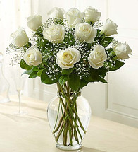 Long-stem red roses are just the gift for the one you can trust, the one you can turn to, the one who loves you above all else and knows your heart inside out. Give the ultimate expression of romance with this stunning, hand-crafted arrangement of long-stem white roses in a classic glass vase. A gift of love they'll always remember--and so will you!