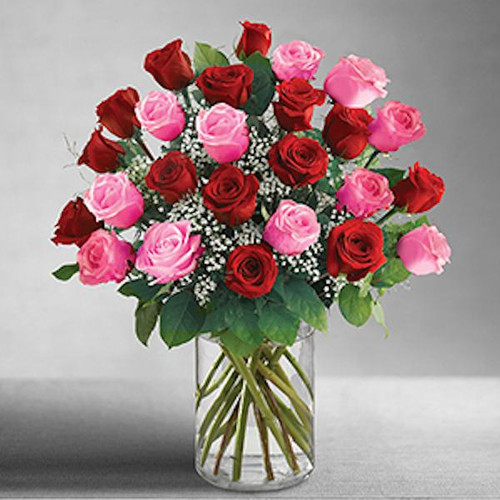 Because your loved one deserves a gift twice as romantic, send two dozen long-stem pink and red roses, a fresh and fabulous bouquet beautifully arranged by our select florists in a classic glass vase. Simply unforgettable.