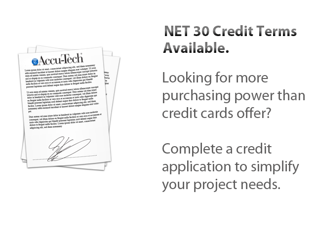 eaccu-tech credit terms, net 30, credit application