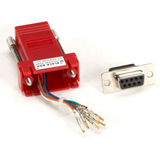 DB9 Colored Modular Adapter (Unassembled), Female to RJ-45, 8-Wire, Red