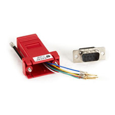 DB9 Colored Modular Adapter (Unassembled), Male to RJ-11, 6-Wire, Red