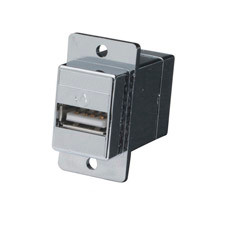 USB (Type A Type B) Panel-Mount Coupler, Silver
