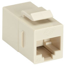 CAT5e Keystone Coupler, Straight-Pinned, Unshielded, Beige, Single-Pack