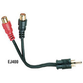 Shielded Y Cord, 4-in. (10.2-cm), (1) RCA Plug Male/(2) RCA Jacks, Female/Female, Mono