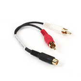 Shielded Y Cord, 4-in. (10.2-cm), (1) RCA Jack Female/(2) RCA Plugs, Male/Male