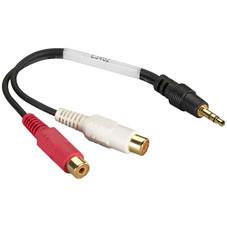 Shielded Y Cord, 4-in. (10.2-cm), (1) 3.5-mm Mini Plug/(2) RCA Jacks, Female/Female