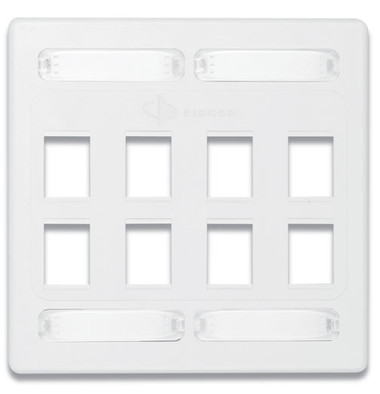 10GMX-FPD08-02 | Siemon Solutions<br>10GMX DOUBLE GANG FACEPLATE 8-PORT,WHITE