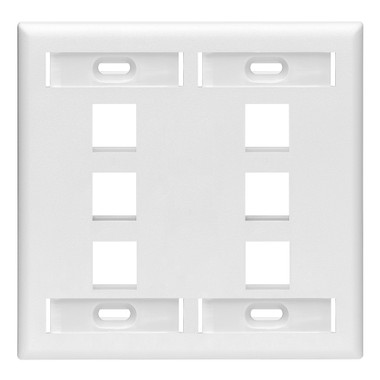 42080-6WP: Leviton QuickPort Wallplate with ID window, dual gang, 6-port, white