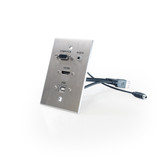 HDMI, VGA, 3.5mm Audio, USB-B to USB-A, single-gang wall plate (pass through) with pigtails, Aluminum