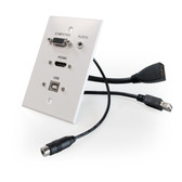 HDMI, VGA, 3.5mm Audio, USB-B to USB-A, single-gang wall plate (pass through) with pigtails, Aluminum (White)