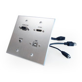 HDMI, VGA, 3.5mm Audio, USB-B to USB-A, dual-gang wall plate (pass through) with pigtails, Aluminum