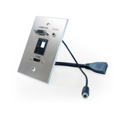 HDMI, VGA, 3.5mm Audio, Keystone (blank), single-gang wall plate (pass through) with pigtails, Aluminum