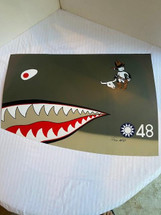 """Nose Art Panel P-40E """"Flying Tigers"""" Signed by PilotTex Hill TMC Models"""