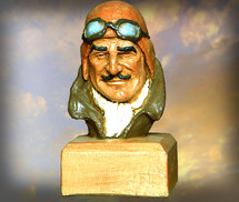 """Pilot Head"" Hand-Painted Sculpture Garman Sculptures"