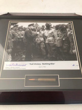 "Eisenhower`s ""Full Victory - Nothing Else"" Speech Framed Photograph Signed by Wild Bill Guarnere - matted to include M1 Garand bullet"