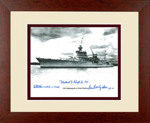 USS Indianapolis framed photograph signed by three survivors
