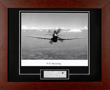 "P51 Mustang framed photograph - matted to include P51 metal ""skin"""
