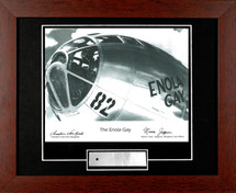 "Enola Gay nose framed photograph signed by 2 crew members: Dutch Van Kirk and Morris Jeppson - matted to include B-29 ""skin"""