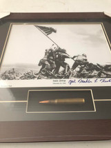 """Flag Raising Over Iwo Jima"" framed photograph signed by survivor Mahlon Fink - matted to include an M1 Garand bullet"
