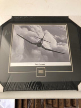 "F4U Corsair framed photograph - matted to include F4U metal ""skin"""