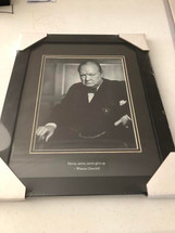 """Never, Never, Never Give Up"" - Winston Churchill framed photograph"